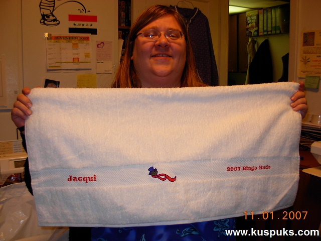 Pamela Showing Her Embroidered Towels I Made