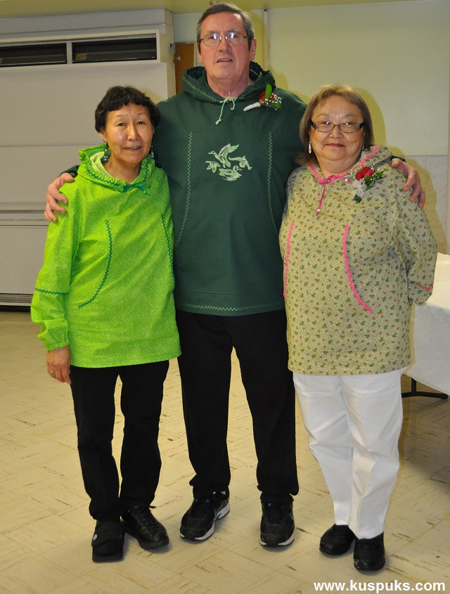Theresa and Archie and his wife,Marilyn in kuspuks they bought from me