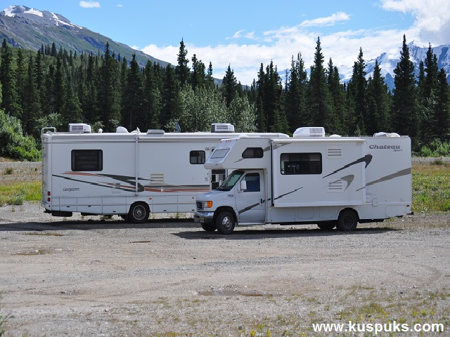my sister and our motor homes on one of our many summer trips